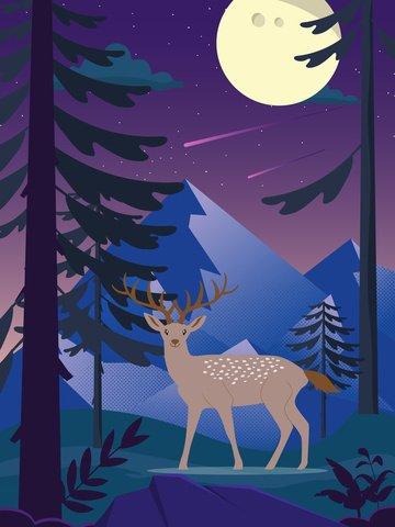 Deer illustration in purple forest moonlight, Elk, Forest, Jungle illustration image