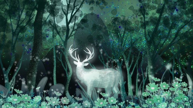 린 shenjian 사슴 치유 시스템 꿈의 동화 나라 사슴의 숲 꽃 삽화 소재 삽화 이미지