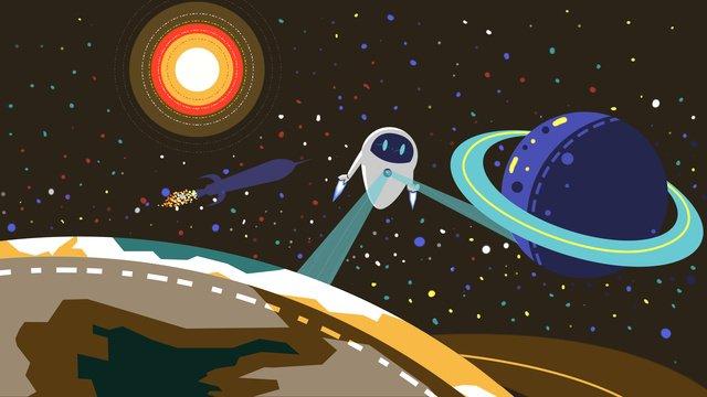 Cosmic exploration robot illustration llustration image