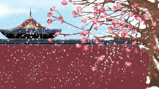 초기 눈 겨울 아름다운 풍경 도시 벽 현장 삽화 소재 삽화 이미지