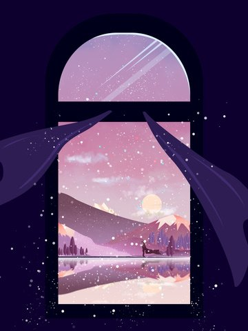 초기 눈 겨울 풍경 창밖 아래 아름다운 색상 삽화 소재