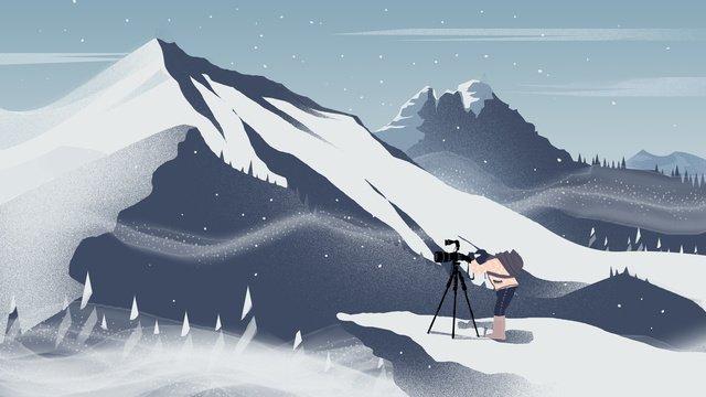 첫 눈 겨울 풍경 그림 삽화 소재