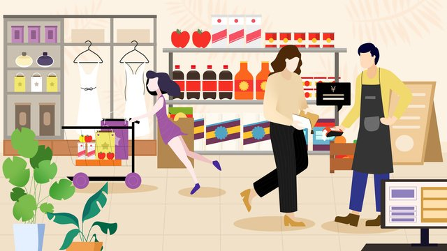 Flat shopping scene face to payment, Flat, Payment, Shopping illustration image