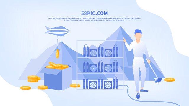 평평한 바람 bitcoin 마이닝 광부와 광산 기계 삽화 소재