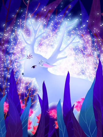 Beautiful healing system forest blue flower seeking deer illustration image
