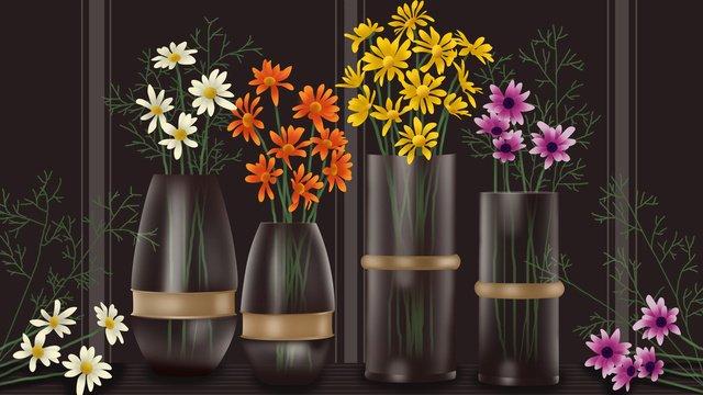 花植物デイジーレトロなリアルなイラスト イラスト素材 イラスト画像