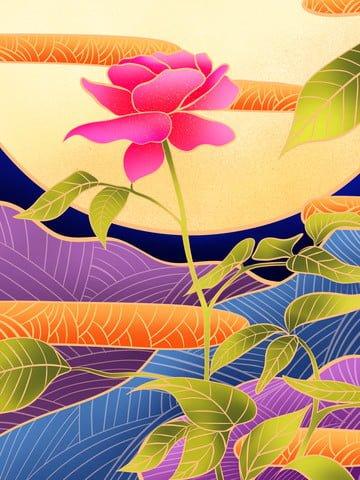 फूल संयंत्र ambilight हाथ खींचा पोस्टर वॉलपेपर चित्रण छवि