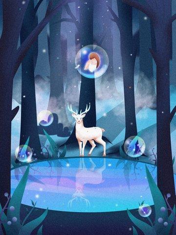 Lin shen when the lake sees deer healing system, Forest, Deer, Illustration illustration image