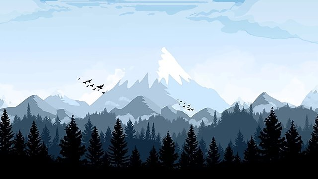 Snowy mountain in the forest of good morning llustration image illustration image