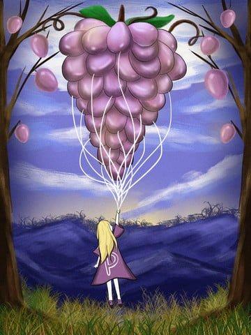 グレープバルーンチャイルドヒーリングイラストレーションフルーツ  ぶどう  少女 PNGおよびPSD illustration image