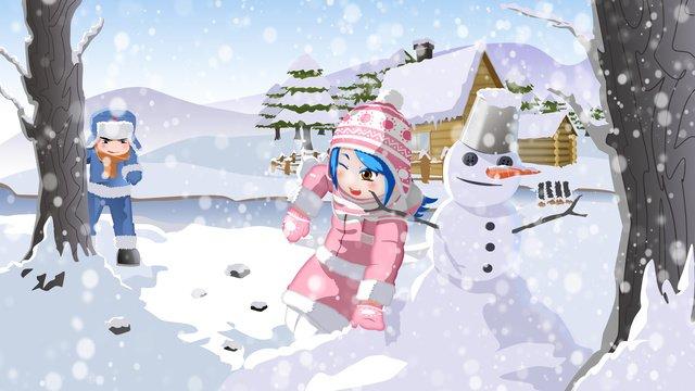 original hand painted winter 2 children playing snowballs llustration image