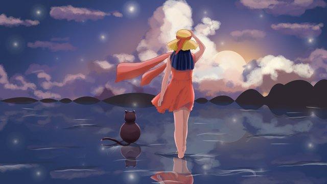 लड़की और बिल्ली समुद्र के किनारे आकाश का चित्रण देख रहे हैं चित्रण छवि