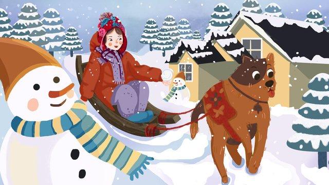 girl dog snowman winter snowball illustration llustration image illustration image