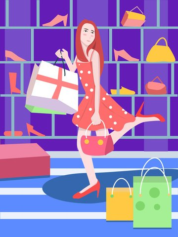 girl shopping scene original illustration llustration image