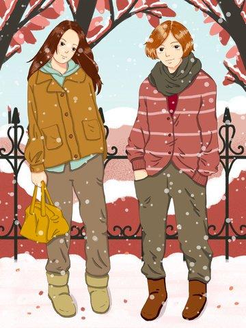 Honeymoon winter sunrise tour warm scene, Girlfriend, Winter Sunrise Tour, Snow Scene illustration image