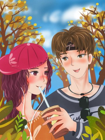 Good morning hello couple drinking coffee under the blue sky and white clouds, Good Morning. Hello, Couple, Boy illustration image