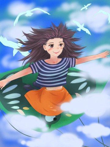 Good morning heart girl sitting on the kite in illustration image