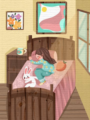 good morning hello girl sleeping in the sun warm illustration illustration image