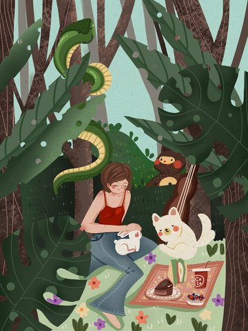good morning hello girl warm illustration in the forest and small animal picnic llustration image