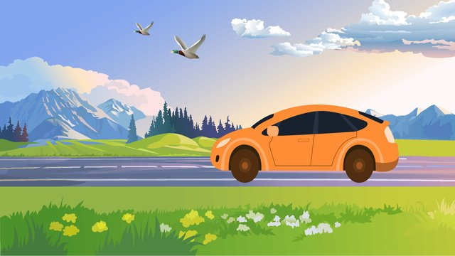 good Morning Castle Peak Green grass white clouds Blue sky, Car, Ambilight, Road illustration image