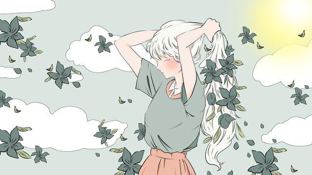 좋은 아침 넥타이 머리 소녀 삽화 소재 삽화 이미지