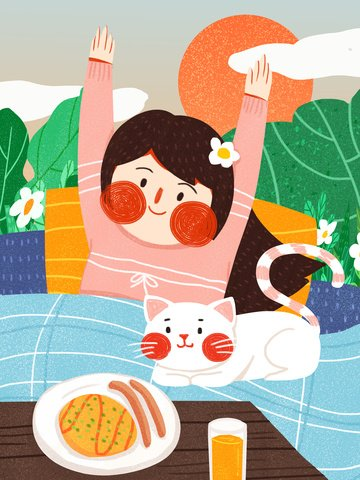 good morning girl cute simple flat original illustration llustration image