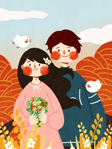 good morning girl couple accompanied cute simple flat original illustration llustration image