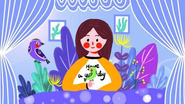 세계 청소년의 날 good morning bird 삽화 소재 삽화 이미지