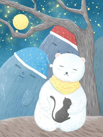 सुप्रभात अच्छे मूड चित्रण पहाड़ों में सोते हुए भालू और बिल्ली चित्रण छवि
