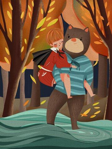 Good night hello little boy carrying a baby river warm illustration llustration image illustration image