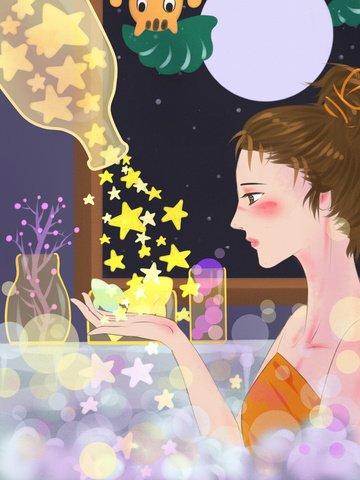 おはようございます、良い気分、星の中でお風呂を持つ少女 イラストレーション画像