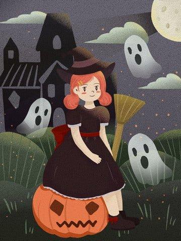 좋은 밤 안녕하세요 할로윈 유령 무죄 픽셀 복고풍 질감 마녀 삽화 소재
