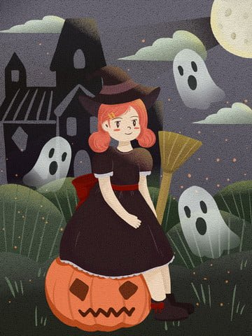 Good night hello halloween ghost innocence pixel retro texture witch, Good Night, Hello There, Halloween illustration image