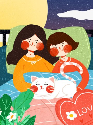Good night hello girl cute simple flat original illustration, Good Night, Hello There, Heart Mood illustration image