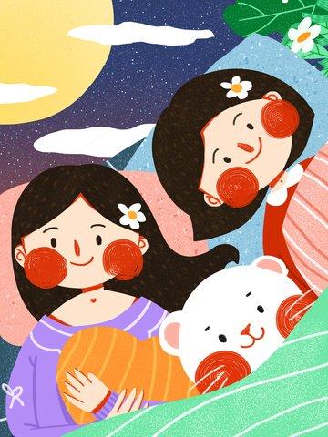 good mood night girl companionship friendship cute original illustration friendship day illustration image
