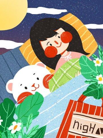 Good night hello girl cute simple flat original illustration, Good Night, Hello There, Teenage Girl illustration image