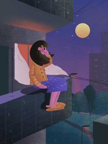 Good night hello balcony moonlight illustration, Good Night, Night, Balcony illustration image