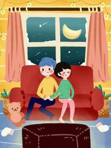 Good night home family couple snowing winter sofa warm sleep, Good Night, Night, Home illustration image
