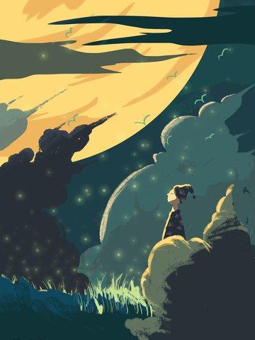 Original small fresh illustration good night world, Good Night, Pajamas, Moon illustration image
