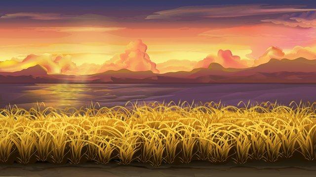 おやすみ、小麦畑の風景 イラスト素材