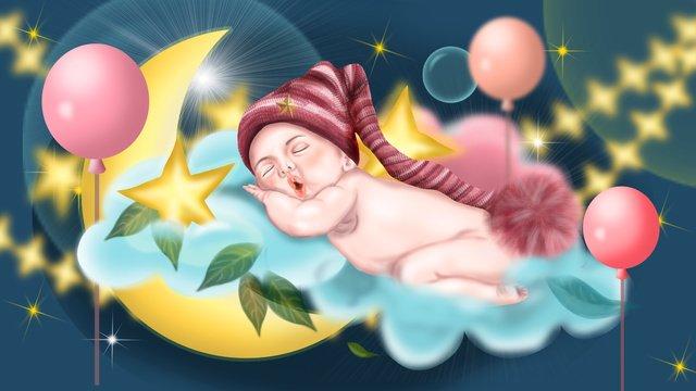 おやすみなさい世界子供赤ちゃんかわいい雲風船眠っている星月 イラスト素材