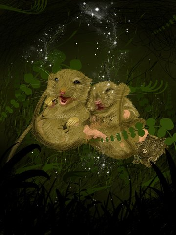 Good night world grass hamster couple foraging llustration image