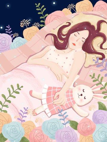 फूलों में सो रही लड़की हाथ खींचा चित्रण चित्रण छवि