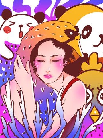 Doodle colorful cartoon cute girl illustration, Graffiti, Cartoon, Lovely illustration image