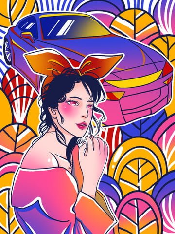 Graffiti colorful woman car illustration, Graffiti Wind, Colorful, Style illustration image