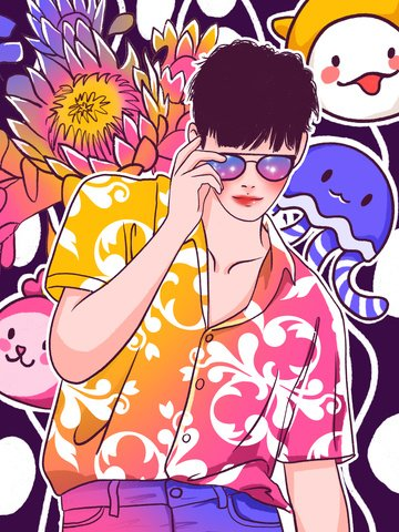 graffiti colorful glasses playing cool fashion boy illustration llustration image