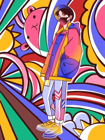 Graffiti colorful mask boy illustration, Graffiti Wind, Graffiti, Fashion illustration image