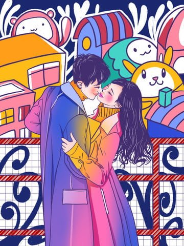 Graffiti colorful hugs couple illustration, Graffiti Wind, Graffiti, Stroke Wind illustration image