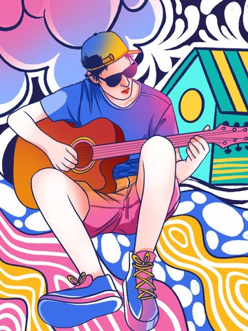 Doodle colorful guitar man illustration country singer, Graffiti Wind, Graffiti, Trend illustration image