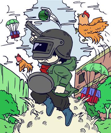Dajidali eats chicken tonight to survive the gun, Great Luck, Eat Chicken Tonight, Jedi Survival illustration image